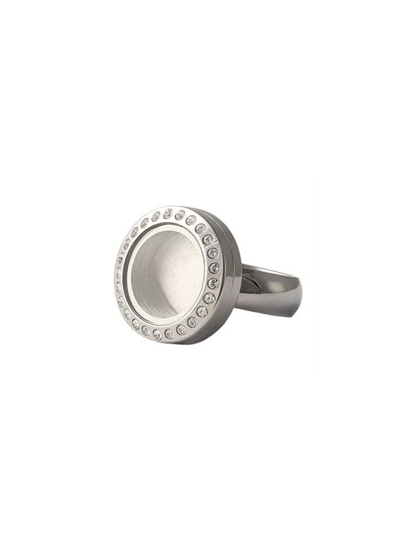 Silver with Crystals Mini Locket Ring - Size 8
