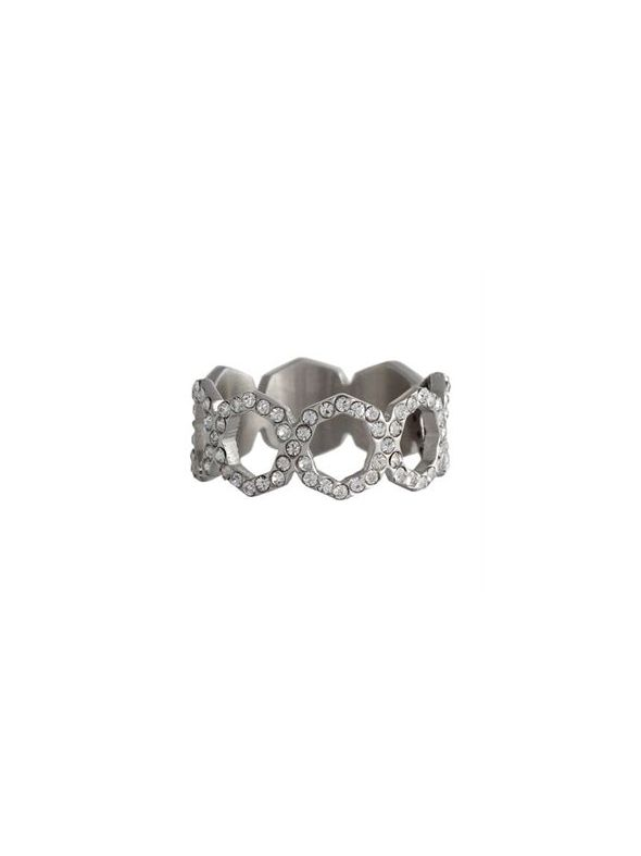 Silver with Crystals Octagonal Ring - Size 7
